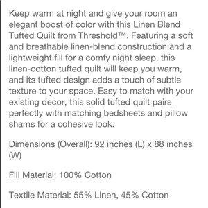 Threshold Bedding - Full/Queen Linen Blend Chambray Quilt